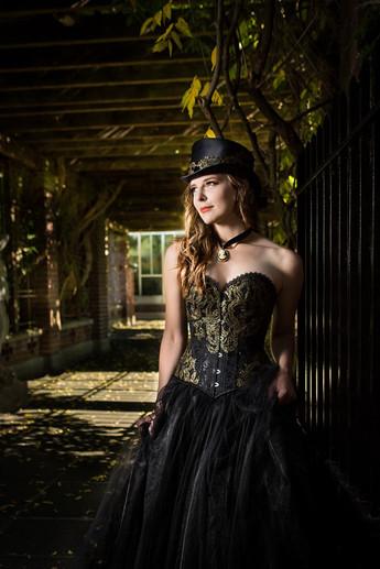 Black and gold steampunk wedding dress