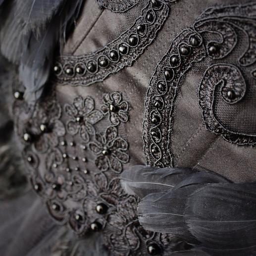 Black Raven corset beading
