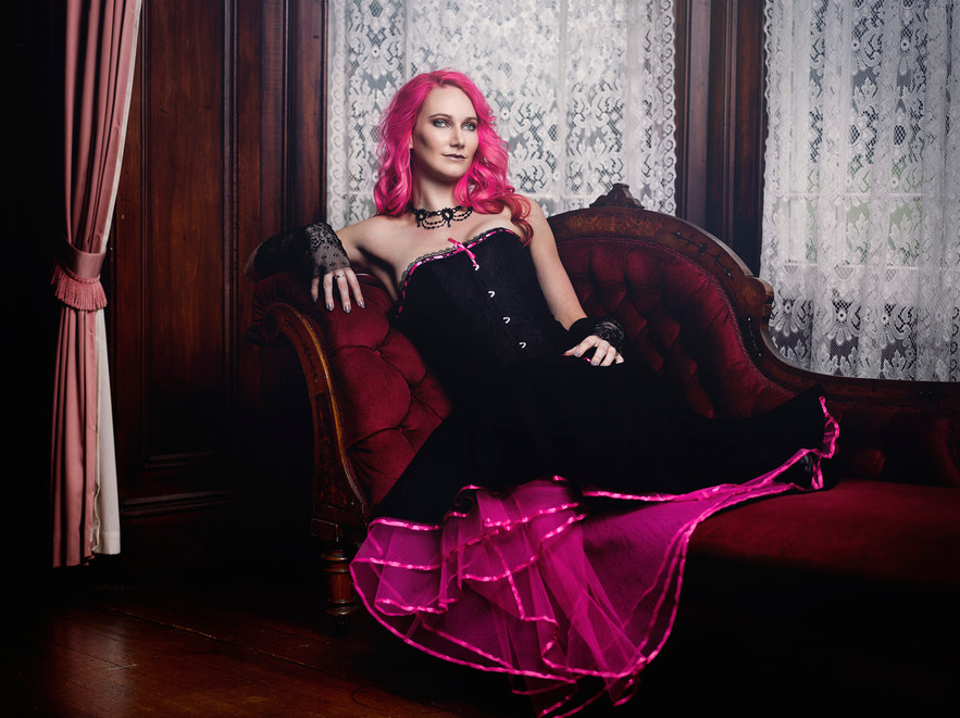 Black and pink gothic wedding dress