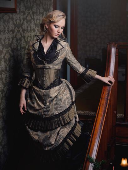 Green and black Victorian steampunk wedding dress