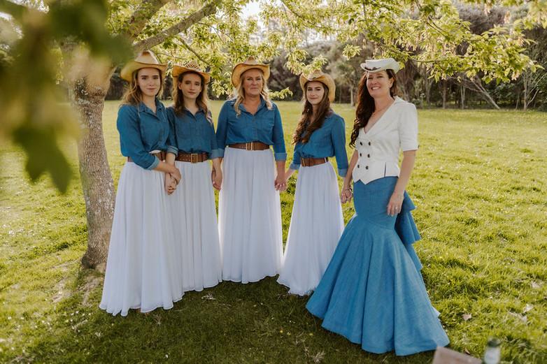 Denim and silk wedding dress, chiffon bridesmaid skirts