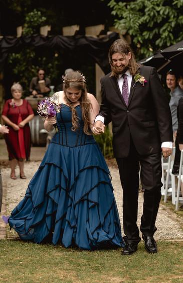 Custom blue and black chiffon wedding dress