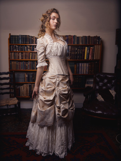 Ivory and gold Victorian wedding dress
