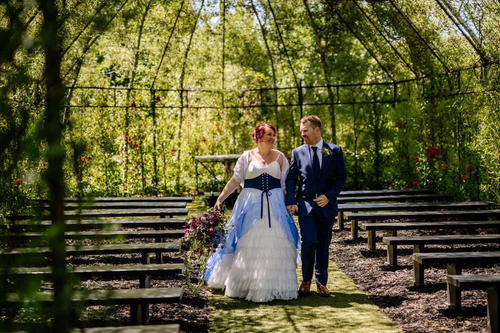 Blue and white ombre wedding dress