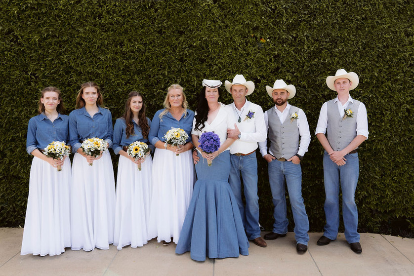 Denim, silk and chiffon wedding