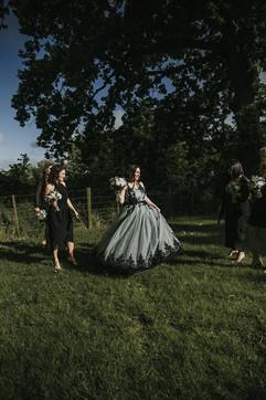 black and blue custom wedding dress