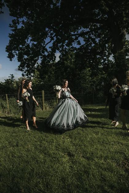Custom blue tulle and black lace wedding dress