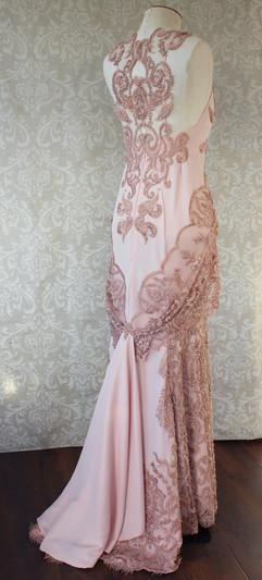 pink art deco gown beaded
