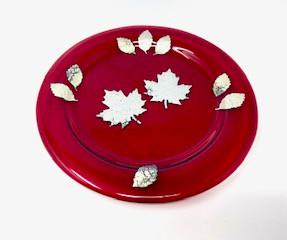 Garnet Glass Leaf Plate