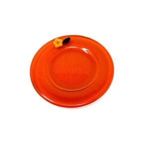 Orange Glass Flowered Dish