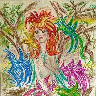 Woman with Birds $100