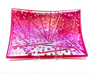 Iced Cranberry Pink Glass Serving Plate