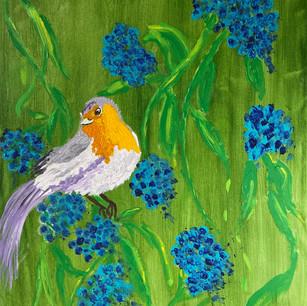 Sweet Bird & Hydrangeas $225
