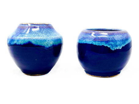 Billowy Colored Clouds $30 each (Narrow Neck Vase SOLD)