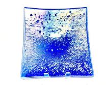 Iced Cobalt Iridescent Glass Accent Plat