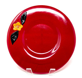 Winter Holiday Red Glass Serving Plate.p