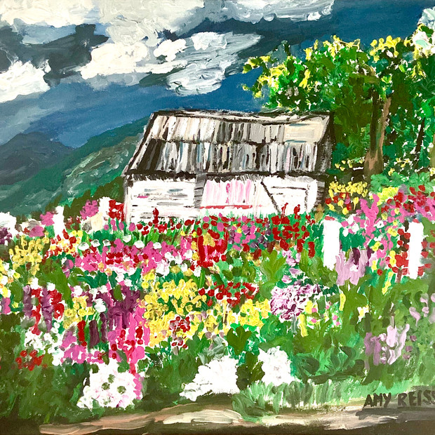 Old Barn in Wildflowers $225