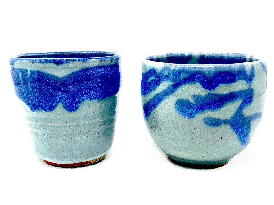 Swirly Blue Ribbons $35 each (Vase on Left SOLD!)