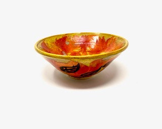 Flame Colored Bowl with Leaves