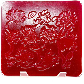 Garnet Red Sunflower Plate