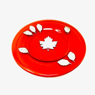 Orange Glass Silver Leaf Plate