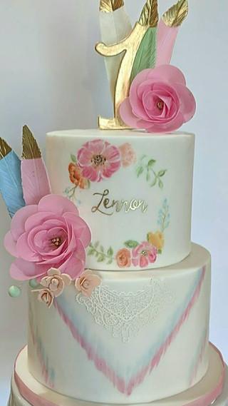 boho handpainted cake for lennon.jpg