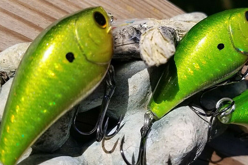 Luckycraft Style Squarebill Crankbait - Holographic Mystic Green - SOLD EACH