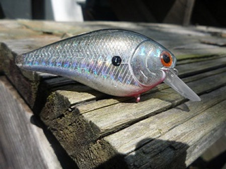 Holographic Silver with Red Eye Luckycraft Style Squarebill Crankbaits