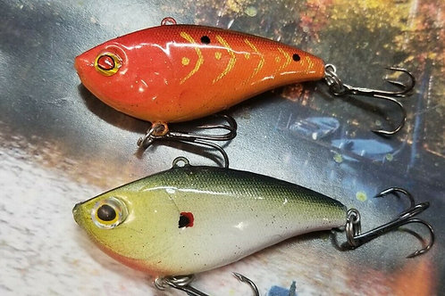 Pair of Excaliber Style Lipless Crankbaits - Red with Gold and Evergreen