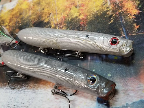 Pair of Evergreen Blow Topwater Lures - Light Grey Shad and Dark Grey Shad