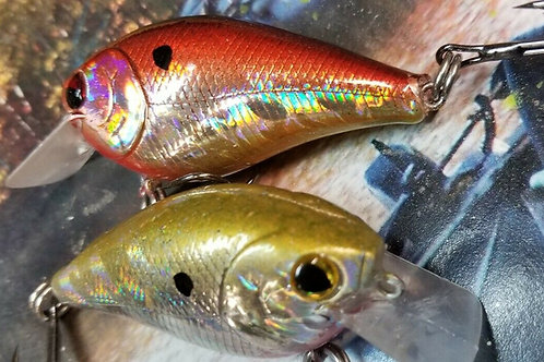 Pair of Luckycraft Style Squarebill Crankbaits - Holographic Red and Gold