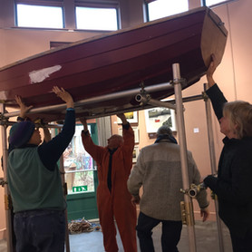 Placing the sailing boat in the exhibition space