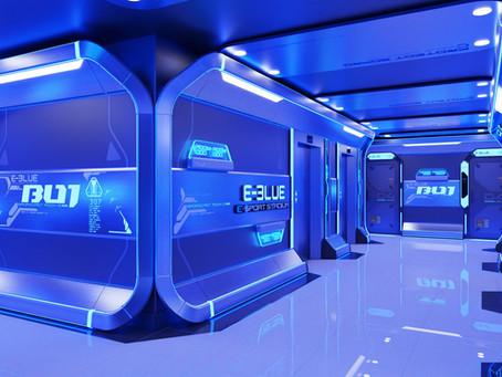 E-Blue esports environment's new aisle design
