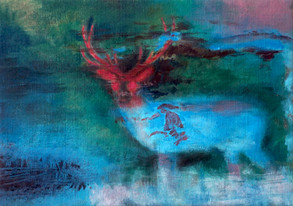 Blue and Red Deer