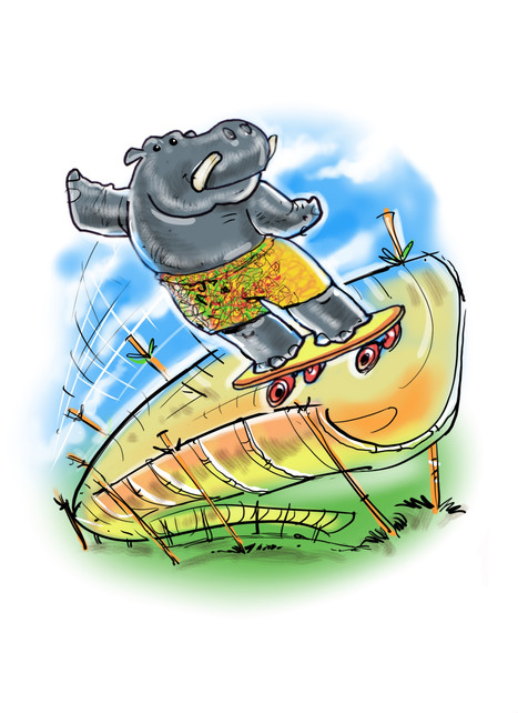 Hippo in a half pipe!