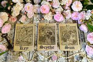 Still life with tarot cards, Lenormand oracle ritual. Esoteric, wicca and occult backgroun