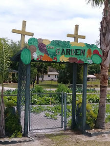 garden entrance at redeemer lutheran church in sanford