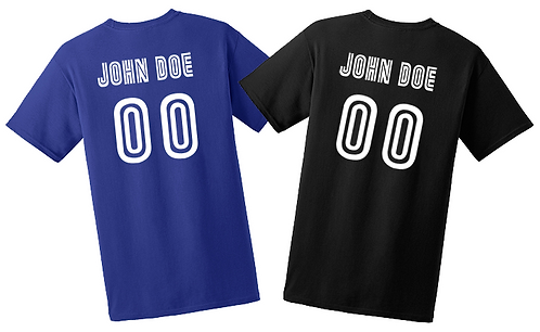 "Add a 2"" Name AND 6"" number to Back of Shirt:"