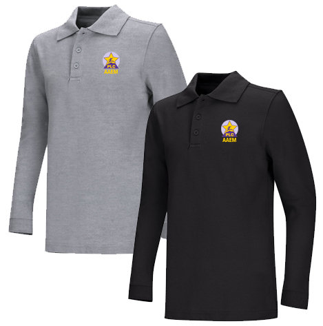 AAEM Youth Pique Long Sleeve 60/40 Polo 6-8