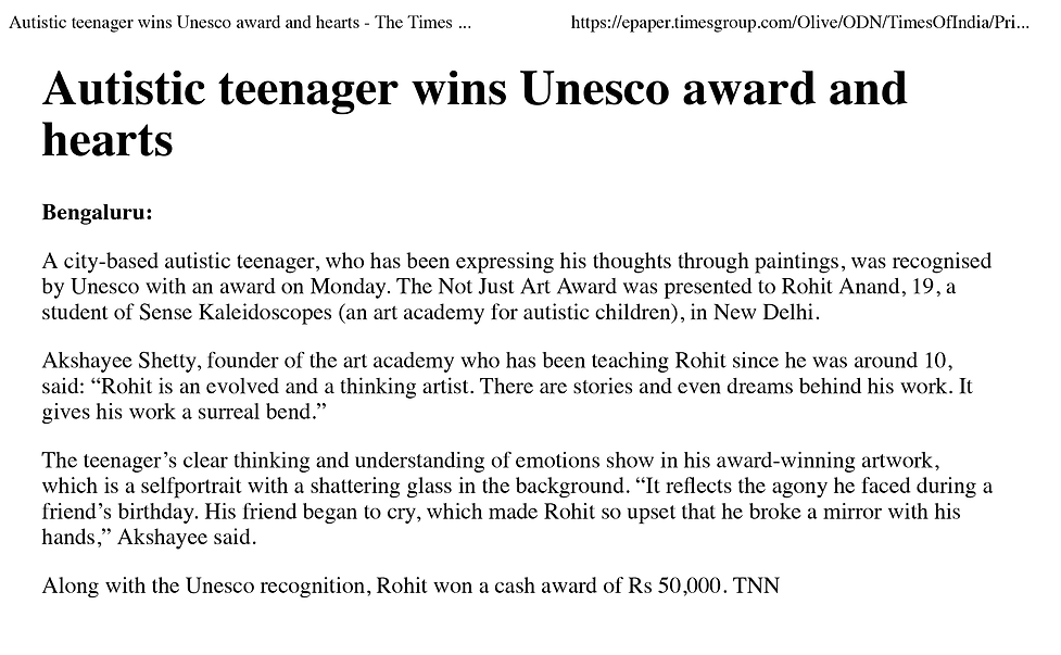 Autistic teenager wins Unesco award and