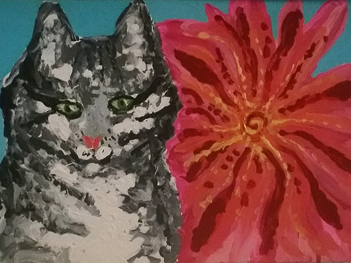 Arty and the Giant Pink Flower, acrylic on canvas