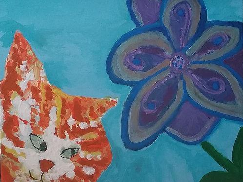 Orange Kitty and Flower