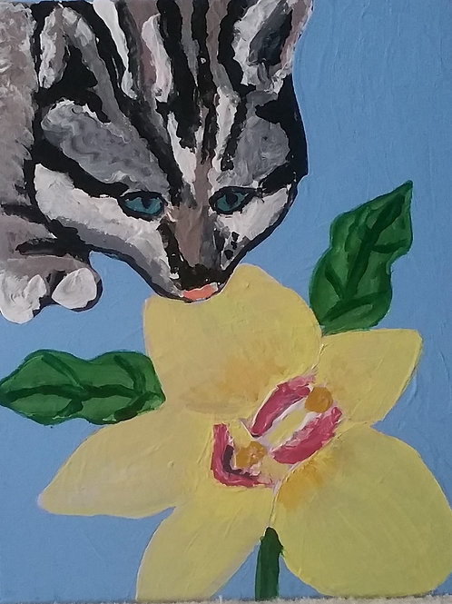 Kitty and Orchid Painting