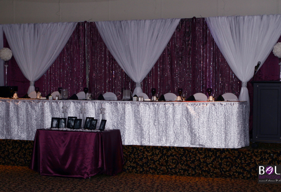eggplant and white panels, crystal curta