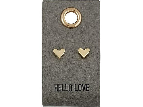Leather Tag Earrings - Hello Love
