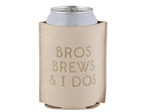 Leather Coozie - Bros Brews & I Dos