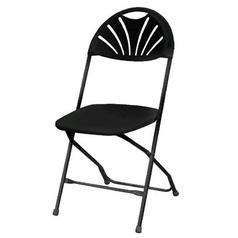 Black Fan Back Folding Chair