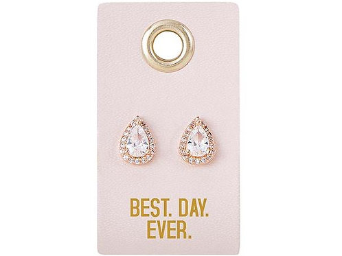 Leather Tag Earrings - Best Day Ever
