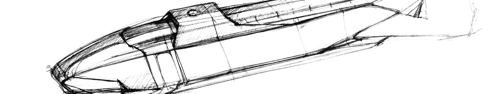 Sketch of early iteration of Tailwind™ aircraft: ¾ view