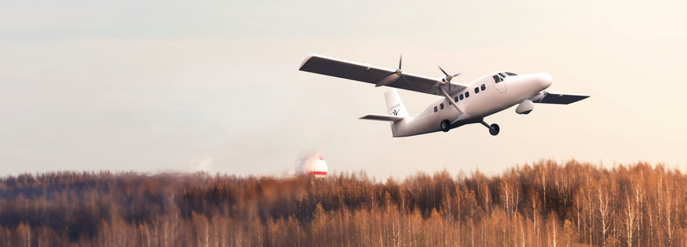 Realistic render of Eco Otter SX aircraft taking off in flight